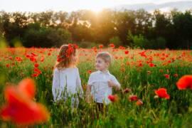 Фотосессия в поле маков. Дети